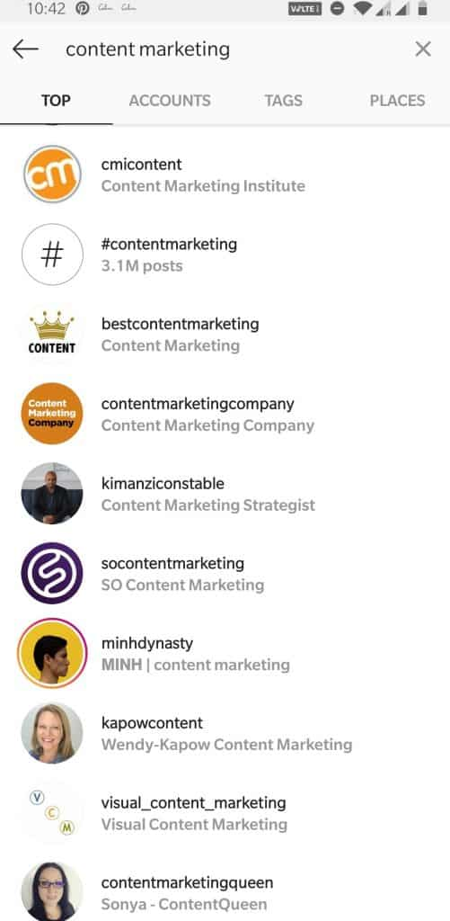 Instagram search with keyword for buyer persona research