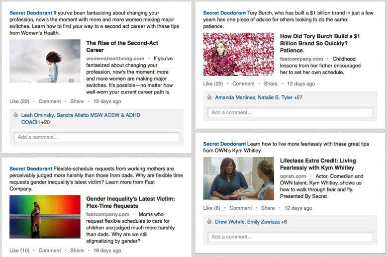 Secret deodorant brand using social media marketing