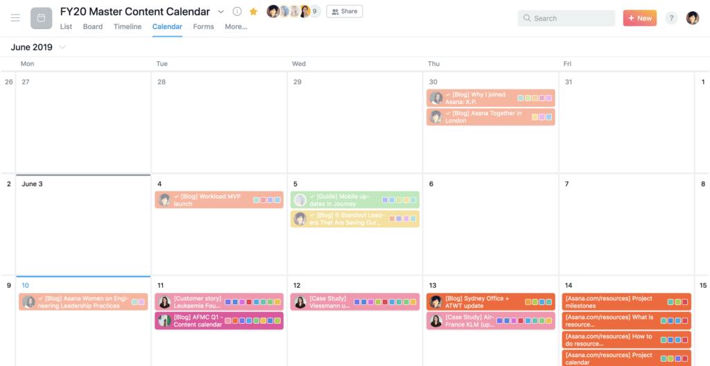 Asana content calendar