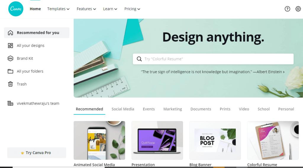 Canva design content