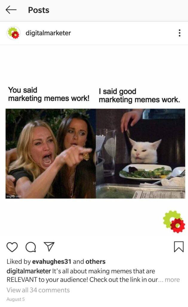 Meme example from digital marketer.com