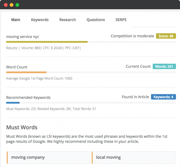 Keysearch content assistant recommendations feature