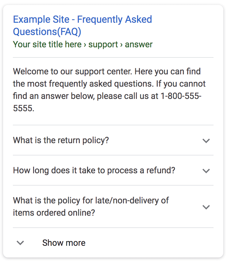 Google FAQ page search result