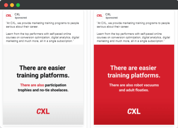 CXL adverstising angle used in Facebook ads