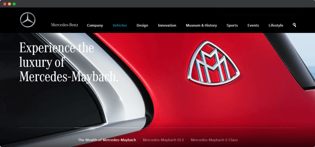 Mercedes Maybach luxury marketing angle on website example