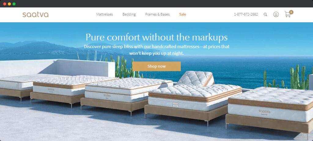Saatva comfort marketing angle on website example