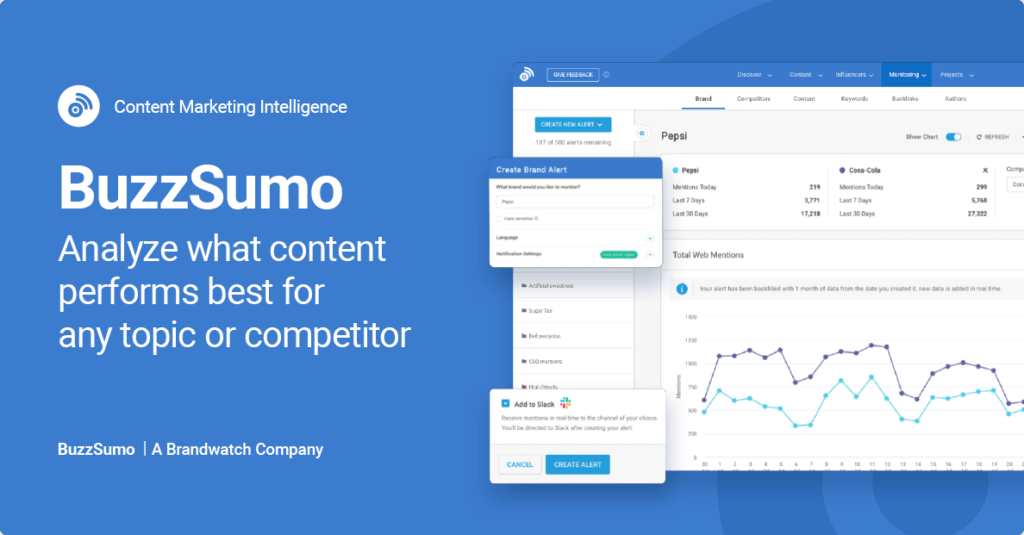 Buzzsumo tool for AI assisted content creation and research