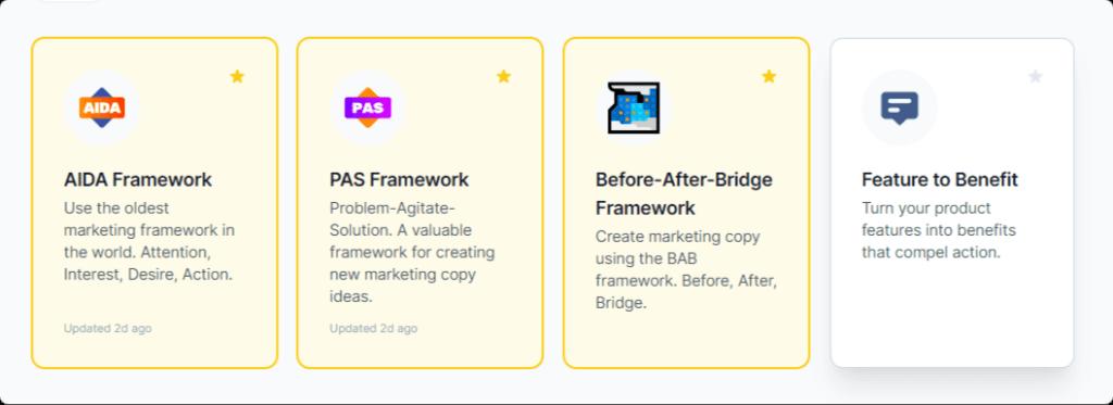 Copywriting frameworks generated by AI writers