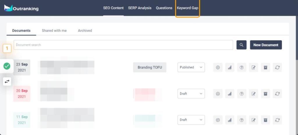 Keyword gap tab outranking